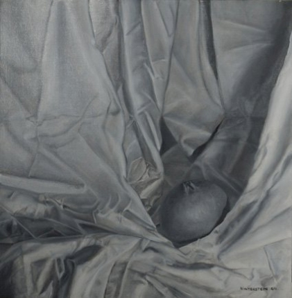 Drapery and Pomegranate, 14 by 14 inches, oil on canvas.