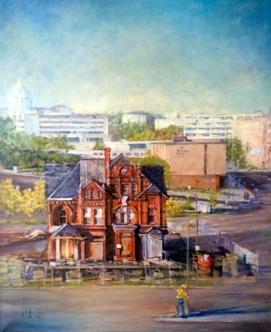 """Armstrong-Quinlin Building Move"", oil"