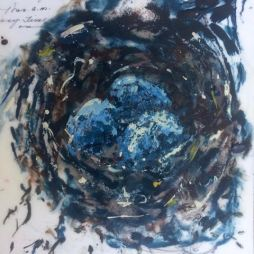 """Nest on Notes"", encaustic"