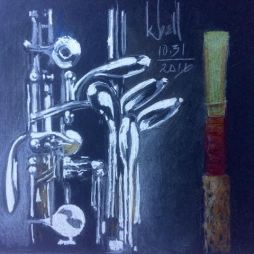 """Oboe"", colored pencil black ground"